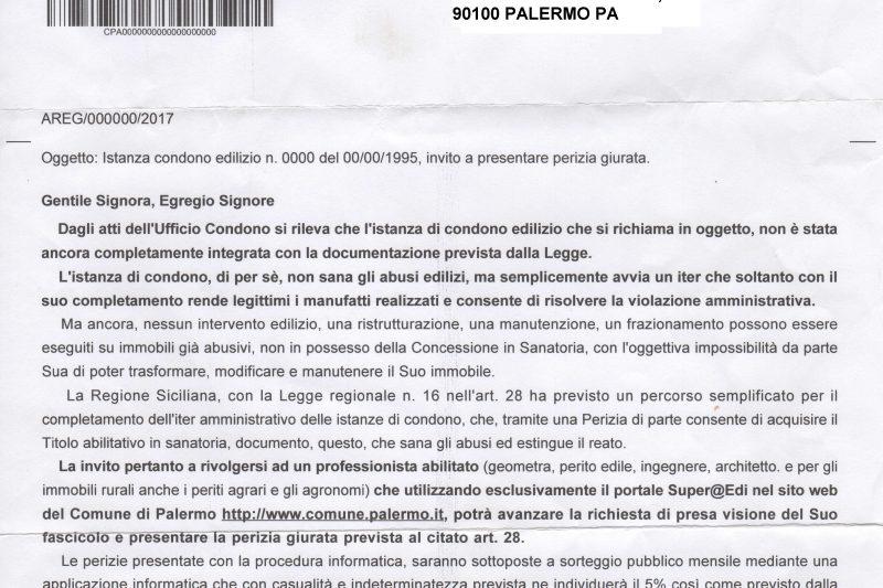 Lettera da Parte del Comune di Palermo
