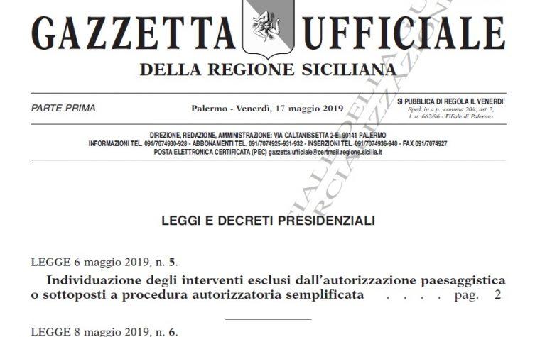 Sicilia gli interventi esclusi dall'autorizzazione paesaggistica – LEGGE 6 maggio 2019, n. 5